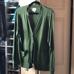 Urban Outfitters Men's Green Slim Cardigan